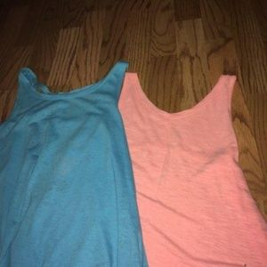 Two tank tops (blue and peach)